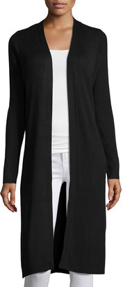 Neiman Marcus Long Ribbed Cardigan, Black $89 thestylecure.com