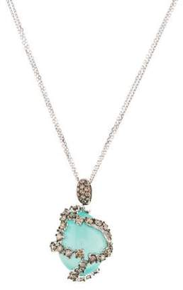 Suzanne Kalan 18K Chalcedony & Diamond Pendant Necklace
