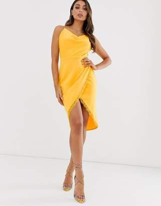 Laced In Love cowl neck midi wrap scuba dress in yellow