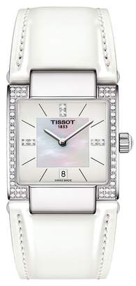 Tissot Women's T-2 Mother of Pearl Diamond Accented Leather Strap Watch, 32mm - 0.16 ctw
