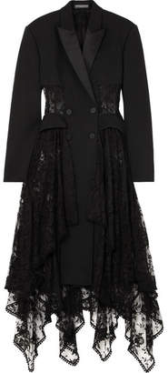 Alexander McQueen Layered Silk-satin Trimmed Wool-blend And Lace Coat - Black