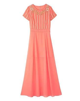 Apricot Beaded Split Detail Maxi Dress