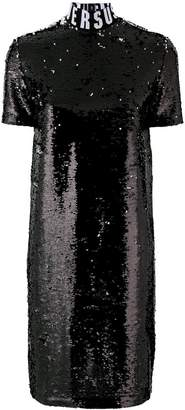 Versus logo neck sequined dress