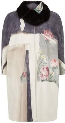 Marina Rinaldi Floral Mink Collar Coat
