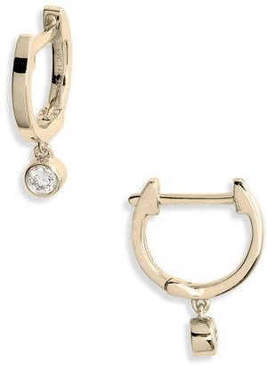 Ef Collection Bezel Diamond Huggie Hoop Earrings
