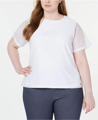 Calvin Klein Plus Size Textured Sheer-Sleeve Top