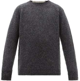 Loewe Logo Embroidered Panelled Wool Sweater - Mens - Grey