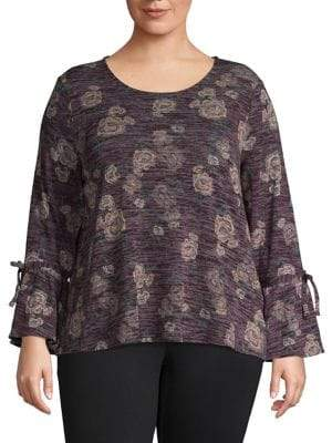 Style&Co. Style & Co. Plus Printed Long-Sleeve Top
