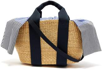 Muun George Vichy gingham canvas and woven straw bag