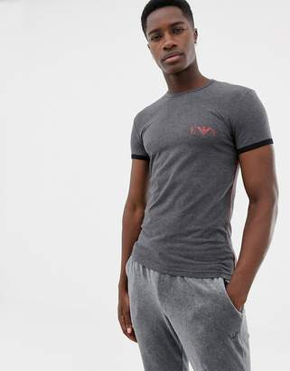 Emporio Armani slim fit Eva athletics chest logo lounge t-shirt with piping in grey