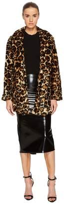McQ Long Leopard Fur Coat Women's Coat
