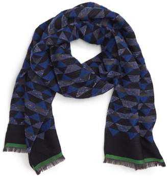 Paul Smith Geometric Print Wool & Silk Blend Scarf