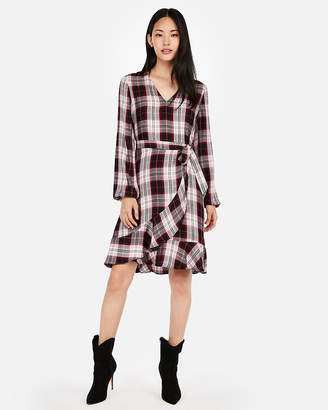 Express Plaid Wrap Front Dress
