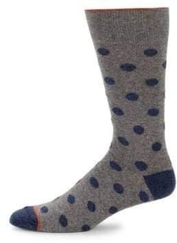 Saks Fifth Avenue Large Genova Dot Crew Socks