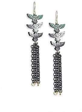 Nest Mother-Of-Pearl& 24K Goldplated Owl Tassel Earrings