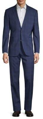 Saks Fifth Avenue Trim-Fit Plaid Wool Suit