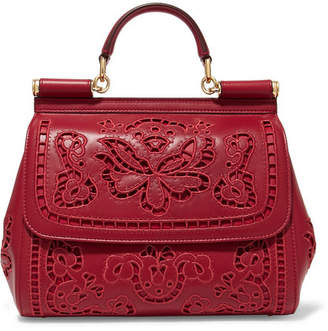 Dolce & Gabbana Sicily Medium Cutout Embroidered Leather Tote
