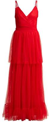 Staud - Mandy Tiered Tulle Dress - Womens - Red