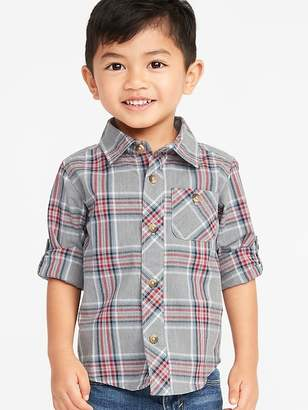 Old Navy Plaid Poplin Roll-Sleeve Shirt for Toddler Boys