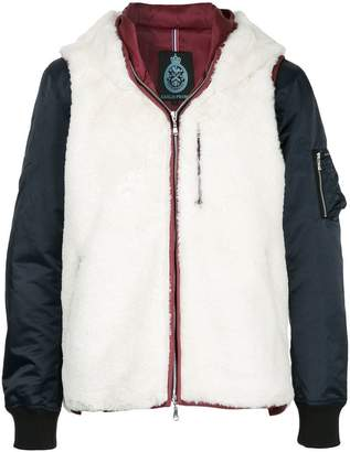 GUILD PRIME contrast hooded padded jacket