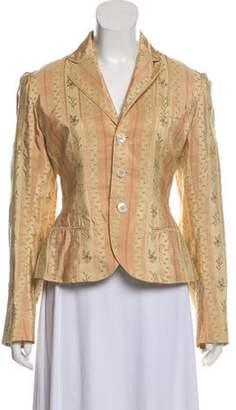 Ralph Lauren Silk Printed Blazer Beige Silk Printed Blazer