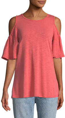 Neiman Marcus Lace-Up Back Cold-Shoulder Tee