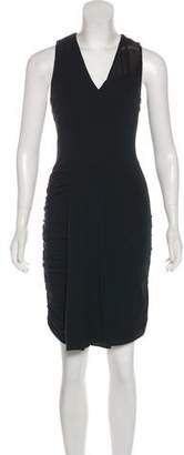 Yigal Azrouel Leather-Trimmed Knee-Length Dress w/ Tags
