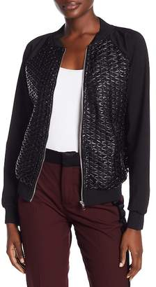 Gracia Lace-Up Faux Leather Sequins Bomber Jacket