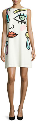 Boutique Moschino Sleeveless Fantasy-Print Shift Dress, White $450 thestylecure.com