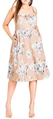 City Chic Paper Floral Tea Length Dress