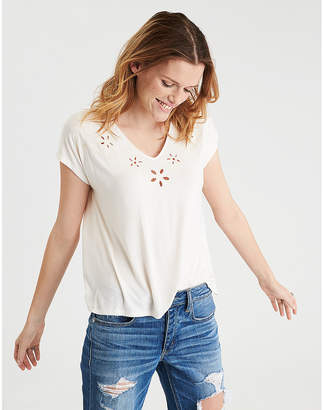 American Eagle AE Soft & Sexy Cut Out Embroidery V-Neck T-Shirt