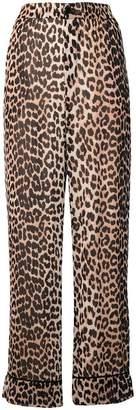 Ganni leopard print straight trousers
