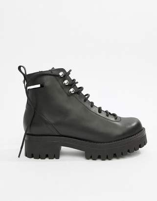 Asos DESIGN Premium Rivalry leather chunky lace up ankle boots