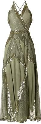 Temperley London sequinned criss cross back dress