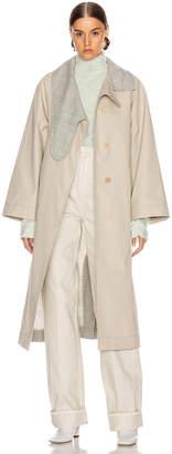 Loewe Long Asymmetrical Collar Coat in Beige & Grey | FWRD