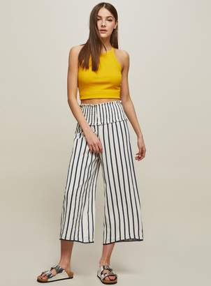 Miss Selfridge White Striped Crop Wide Leg Trousers