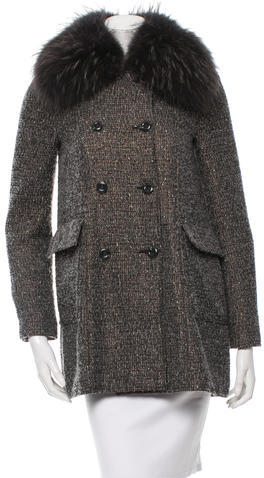 Alice + Olivia Alice + Olivia Fur-Trimmed Double-Breasted Coat