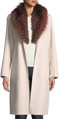 Neiman Marcus Luxury Open-Front Cashmere Coat w/ Fox Fur Collar
