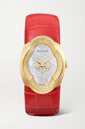 Buccellati Opera 28mm 18-karat Gold, Alligator And Mother-of-pearl Watch - one size
