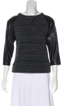 Gryphon Leather Trimmed Crew Neck Sweater