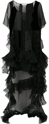 Givenchy ruffle train panelled dress