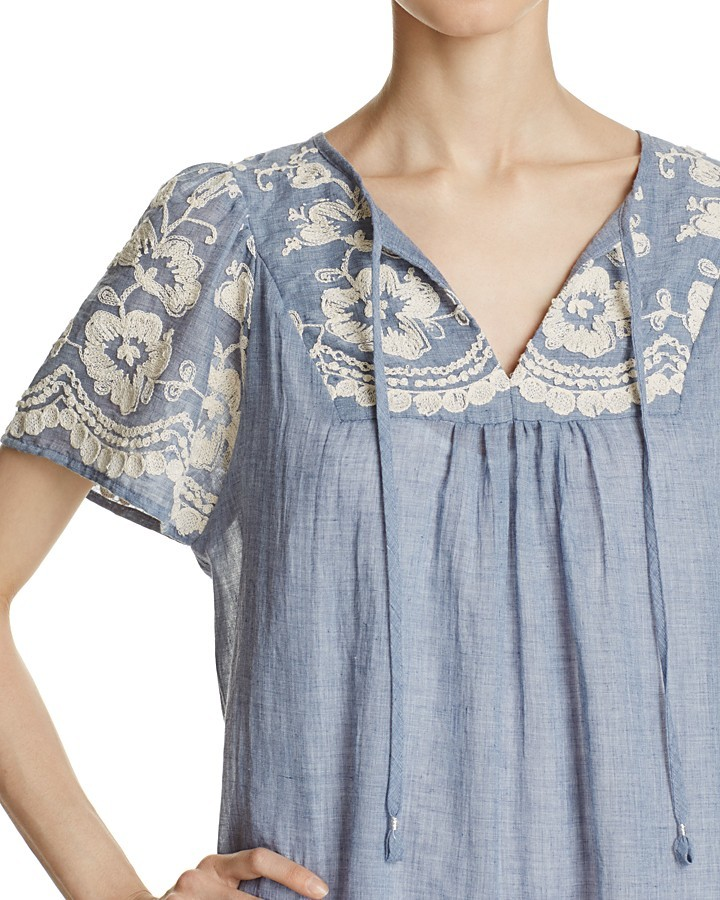Beltaine Embroidered Chambray Dress 3