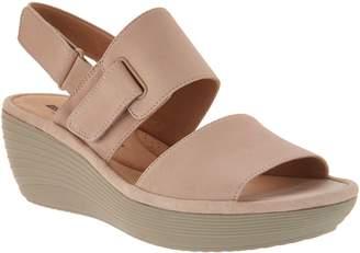 Clarks Nubuck Leather Adjustable Wedge Sandals - Reedly Breen