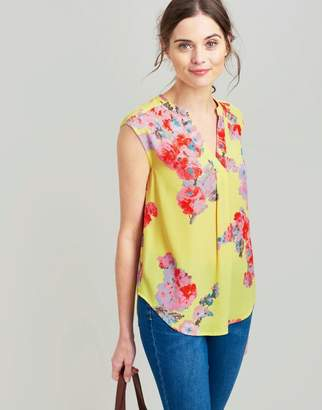 Joules Lemon Floral Jae Woven Sleeveless Top Size 10