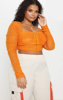 b8c9e9b5391246 PrettyLittleThing Plus Bright Orange Ruched Lace Up Detail Mesh Crop Top