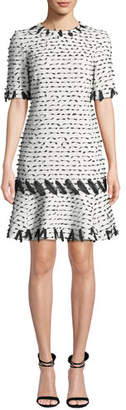 Oscar de la Renta Jewel-Neck Short-Sleeve Ribbon-Trim Dress