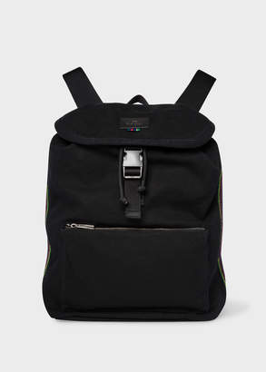 Paul Smith Men's Black Canvas Flap Backpack