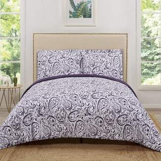 Truly Soft Watercolor Paisley Blush Pink Twin Extra Long Quilt Set
