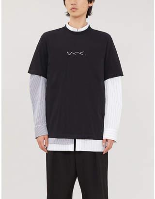 Oamc Foulard silk-patch cotton-jersey T-shirt