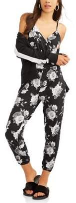 Eye Candy Juniors' Elastic Waist Strapless Crop Jumpsuit with Flounce